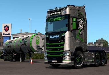 Gas Monkey Energy Scania R + Trailer skins v1.0