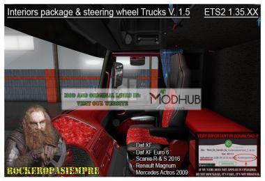 Interior package & steering wheel Trucks v1.5 For 1.35.x