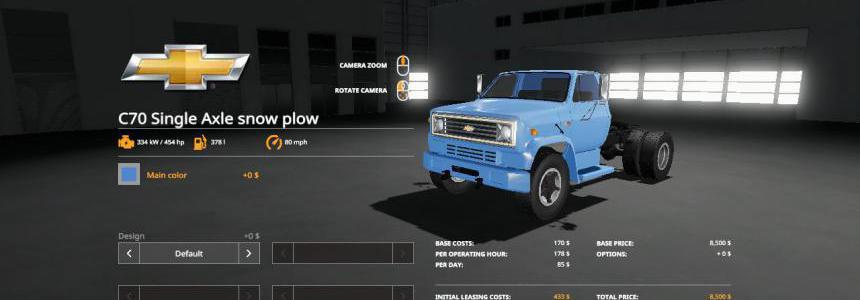 Chevy C70 snow plow truck v1.0