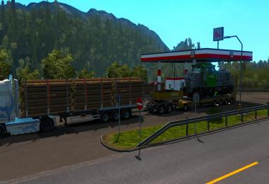 Log Trailer + Low Bed Trailer combination For Multiplayer 1.35.x