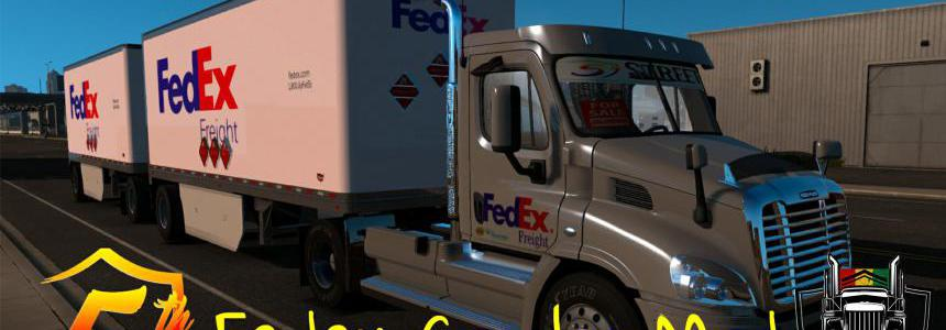 Fedex Official 28 Pup Trailer with Freightliner Day Cab Truck 1.35x