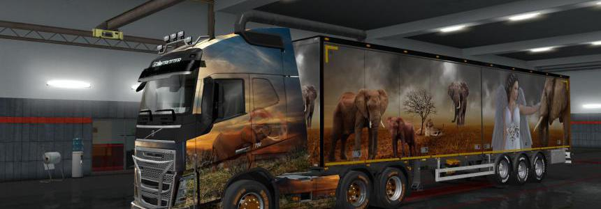 Elephant Theme – Skin for 1.35.x Volvo FH2012 + 2 Trailers