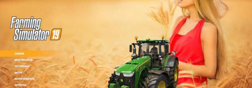 Blonde woman in wheat farm Menu Background v1.0