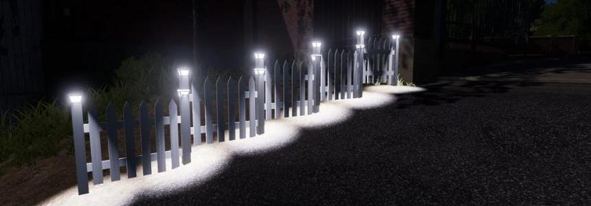 FS19 White Placeable Fences With Lights v2.0
