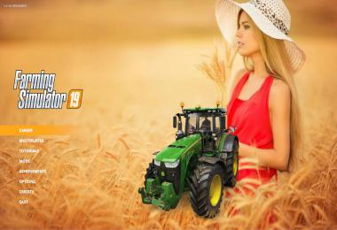 Blonde woman in wheat farm Menu Background v1.0