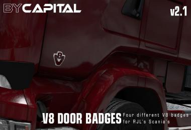 V8 Door badges for RJL Scanias - ByCapital v2.1