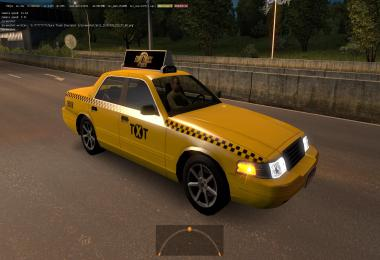 Yellow Taxi with checkers in Traffic ETS2 1.36.x