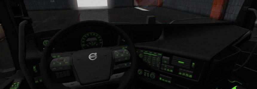 Volvo FH 2012 Black - Green Interior with Green Button Lights 1.36.x
