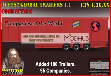 AI ETS2 Global Trailers Rckps v1.1 Fix For 1.36.x