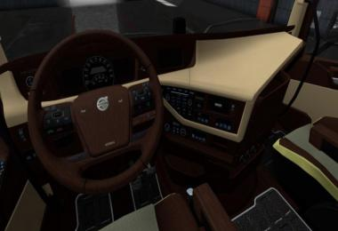 Volvo FH16 2012 Wooden Cream Interior + Blue Dashboard 1.36.x