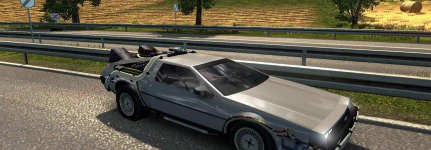 Sports car DeLorean DMC-12 in traffic v2.0