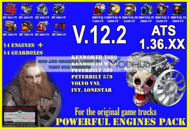Pack Powerful engines + gearboxes v12.2 for ATS 1.36.x