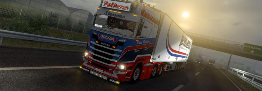 White steering wheel add-on for Scania S500 1.36.x