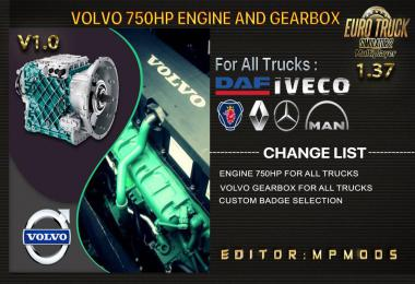 Volvo 750HP And Gearbox For All Trucks v1.0