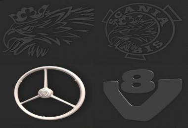 Scania RJL Backwall Logo/ Emblems Pack v1.0
