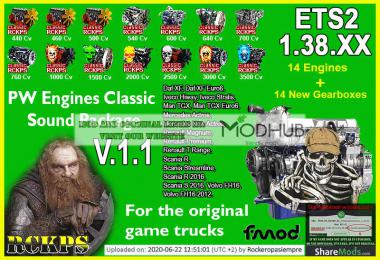 PW Engines Classic Sounds Pack v1.1 para ETS2 1.38.x