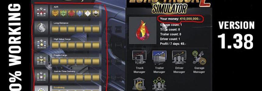 XP And MONEY Mod ETS2 1.38
