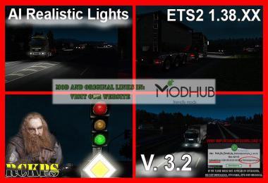 AI Realistic lights v3.2 For ETS2 1.38.x