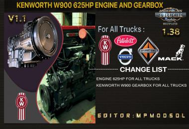Kenworth W900 625HP And Gearbox For All Trucks v1.1