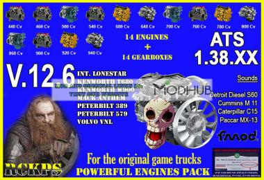 Pack Powerful engines + gearboxes v12.6 for ATS 1.38.x