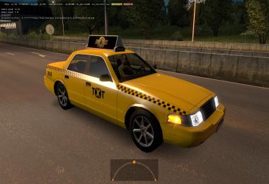 GAZ 3110 Volga Taxi with checkers in Traffic for ETS2 1.39.x