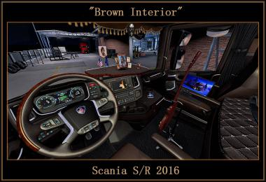 Brown Interior for Scania S/R 2016 v0.9