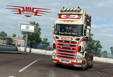 Red Transport Scania RJL Skin v1.0